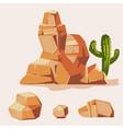 set of desert rocks cartoon isometric 3d flat vector image vector image