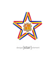 star with Andorra flag colors and symbols design vector image vector image