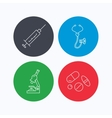 Syringe stethoscope and microscope icons vector image vector image