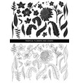tropical leaves and flowers silhouette and line vector image vector image