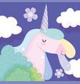 unicorn bushes clouds fantasy magic cute cartoon vector image
