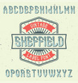 vintage label font named sheffield vector image vector image