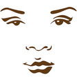woman face in line vector image