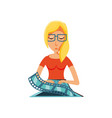 woman with laptop and video tape vector image vector image