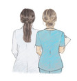 young female doctor and nurse side side vector image vector image