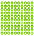 100 finance icons set green circle vector image vector image
