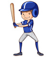 A baseball player with a blue uniform vector image vector image