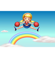 A cheerer above the rainbow vector image vector image