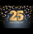 anniversary 25 gold 3d numbers vector image vector image