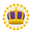 bejeweled crown round icon vector image vector image
