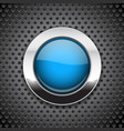 blue button on metal perforated background round vector image vector image
