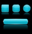blue buttons with reflection on black background vector image vector image