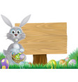 bunny and easter message sign vector image vector image