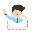 businessman in envelope cartoon vector image