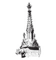 buttress pinnacle notre dame vintage engraving vector image vector image