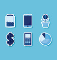calculator with set icons economy finance vector image vector image