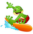 cartoon frog surfing vector image vector image