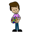 Cartoon Man and puzzle vector image vector image