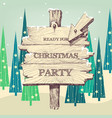 christmas wooden pointer to party landscape vector image vector image