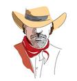 cowboy face color vector image vector image