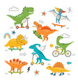cute dinosaurs riding skateboards and scooters vector image vector image