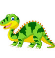 cute green dinosaur cartoon on white background vector image vector image