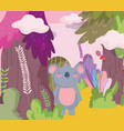 cute koala animal cartoon character forest foliage vector image