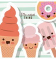 cutest thing poster with caricature ice creams vector image