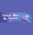 dental hygiene banner with doctor and girl patient vector image vector image
