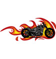 dramatic burning motorcycle engulfed in fierce vector image