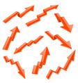financial indication arrows set orange 3d shiny vector image
