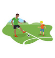 flat african american dad plays football vector image vector image