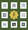 flat icon safe set of coins locked protection vector image