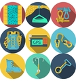 Flat icons for climbing equipment vector image