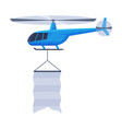 flying helicopter with blank banner air vehicle vector image vector image