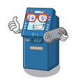 gamer atm machine next to character table vector image vector image