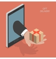 Gift delivery isometric vector image