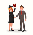 girl graduate is awarded a diploma vector image vector image