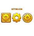 gold settings icons different shapes for the vector image