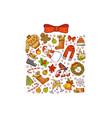 hand drawn colored christmas gift box vector image vector image