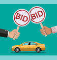 hands holding auction paddle and car vector image vector image