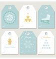 Hello winter Collection Christmas gift tags vector image