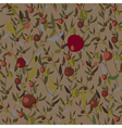 Leaves and fruits seamless pattern vector image