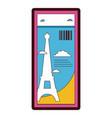 line color eiffel tower of paris ticket vacation vector image