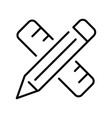 linear simple crossed pencil and ruler icon vector image
