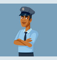 male police officer in uniform cartoon vector image