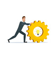 Man rolls gear Business cartoon concept isolated vector image vector image