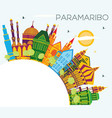 paramaribo suriname city skyline with color vector image vector image