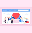 philanthrophy landing page charity or donation vector image vector image