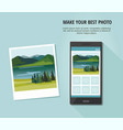 photo of nature landscape with smartphone vector image vector image